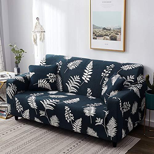 Funda de sofá con diseño de Hoja nórdica, Funda de sofá elástica de algodón, Fundas de sofá universales para Sala de Estar A7, 3 plazas