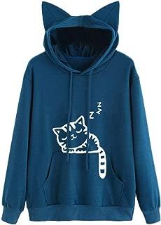 Makulas Women Hoodie Plus Size Long Sleeve Pocket Cat Print Drawstring Fashion Tunics Comfy Pullover Loose Blouse T-Shirt