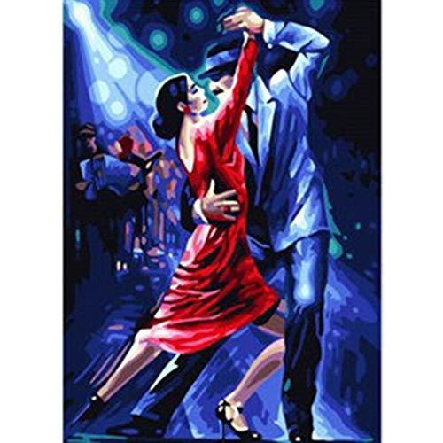 genmaimeima Doppelte Tango-Figur DIY Digitale Malerei Nach Zahlen Moderne Wandkunst Leinwand Malerei Weihnachten Einzigartiges Geschenk Wohnkultur 40X50Cm Rahmenlos
