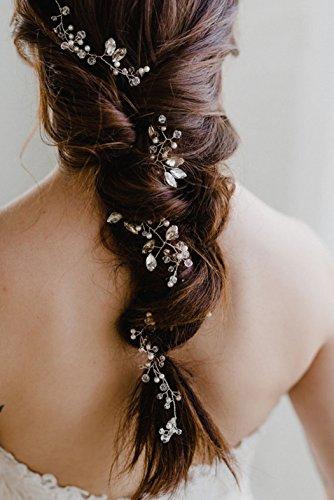 Aukmla: elegante Hochzeit-Haarranke, moderner Haarschmuck für Braut und Brautjungfer (54,9cm)