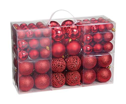 WOMA Christbaumkugeln Set in 14 weihnachtlichen Farben - 50 & 100 Weihnachtskugeln Rot aus Kunststoff - Gold, Silber, Rot & Bronze/Kupfer UVM. - Weihnachtsbaum Deko & Christbaumschmuck