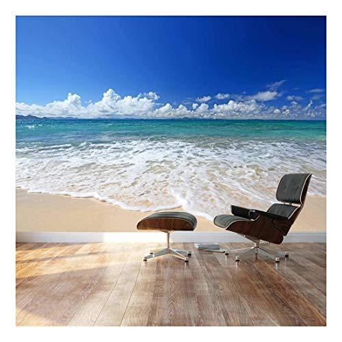 "Wall26 - Large Wall Mural - Gorgeous Beach and Clear Sea in Summertime | Self-adhesive Vinyl Wallpaper / Removable Modern Decorating Wall Art - 100"" x 144"""