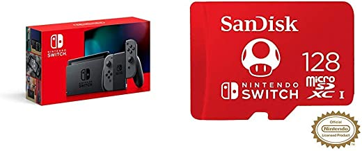 Nintendo Switch with Gray Joy‑Con - HAC-001(-01) + 128GB MicroSDXC UHS-I Card