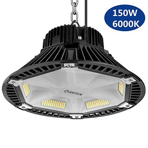 Anten LED Industrielampe PET-Reflektionsdesign, LED Hallenstrahler 150W, Kaltweiß 5500-6500Kelvin, 19500Lumen, SMD 2835, Schutzklasse IP65, 120°Abstrahlwinkel
