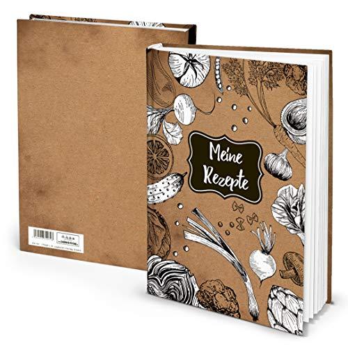 Logbuch-Verlag XXL receptenboek, eigen kookboek, DIN A4, boek om zelf te schrijven, HARDCOVER, bruin/wit