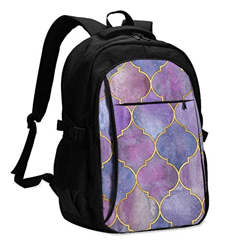 XCNGG Watercolor Geometric Eastern Texture Travel Laptop Backpack with USB Charging Port Multifunction Work School Bag