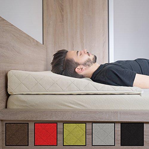 Salosan® Entspannungs- und Relaxkissen, Keilkissen für Bett/Couch/Liege/Sofa. Druckentlastendes Ruhekissen, Rückenkissen oder Beinkissen. Bettkeil Größe 90cm x 60cm Höhe 11cm Farbe: (Beige/Natur)