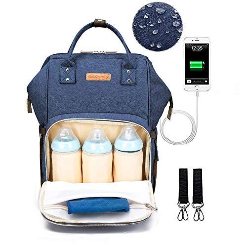 Mama Wickelrucksack WickelTasche mit USB, Blau Große Baby Rucksack Wasserdicht Oxford Baby Rucksack, Babytasche für Unterwegs, Baby Bag für kinderwagen Wasserdicht