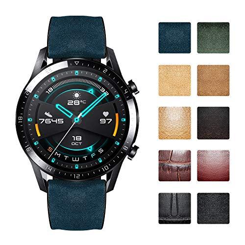 Bandas de reloj de repuesto compatibles con Huawei GT/GT2 42mm 46mm/Huawei Watch 2 Classic/Sport Smartwatch Correas de reloj híbridas de silicona de cuero flexible a prueba de agua (20mm/22mm)