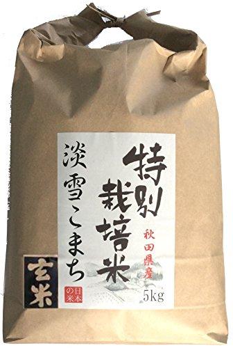 みのライス 【 玄米 】 秋田県産 特別栽培米 淡雪こまち 5kg 令和元年産 石抜き処理済み