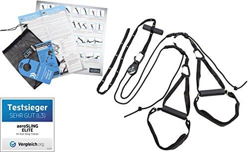 aeroSling ELITE Plus - Sling Trainer mit Profi Umlenkrolle, Türanker, Online-DVD, Poster