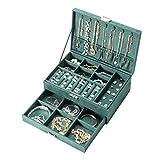Amasava Joyero Caja de Organizador Terciopelo con Cajon,Viaje Caja de joyería,27 x 19X 10cm,Verde Retro