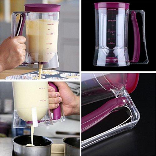 Wildeal 900 ml Pfannkuchen-Teigspender, Backwerkzeug, für Pfannkuchen, Cupcakes