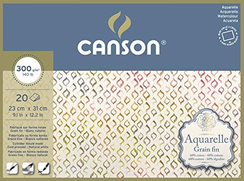 Aquarelle Canson Block rundumgeleimt, 23 x 31 cm, 20 Blatt, 300 g/m², Feinkorn
