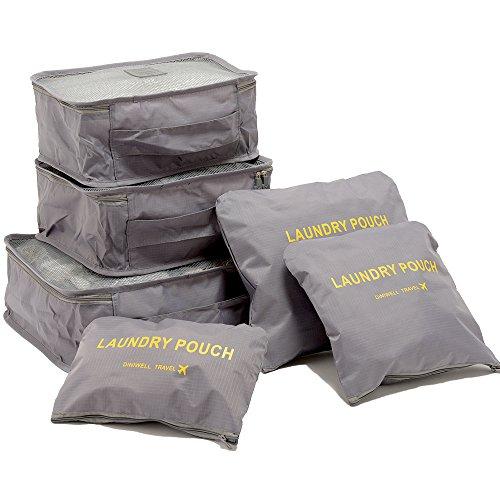 トラベルポーチ6点セット メンズ レディース 旅行 旅行用品 トラベルグッズ 海外旅行 便利グッズ 収納 整理整頓(グレー)
