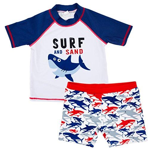 Jungen Zweiteiler Badeanzug Bademode - Kleinkind Schwimmset Kinder Kurzarm Schwimmen T-Shirt und Badeshorts 1-6 Jahre