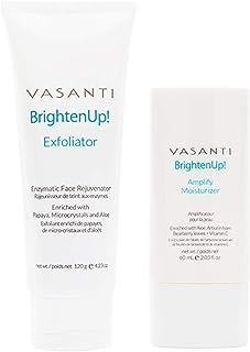 Brighten Up Exfoliator (120g) and Moisturizer (60ml) Kit by VASANTI - Get Glowing Healthy Skin Now!