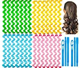 28 Pieces Hair Curlers Styling Kit,No Heat Hair Curls Hair Curlers Magic Hair Rollers Heatless Wave Styles with 2 Pieces Styling Hooks for Extra Long Hair Most Kinds of Hairstyles (45cm/17.7))