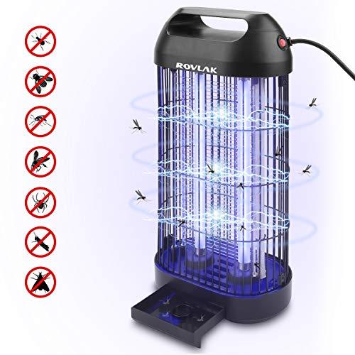 ROVLAK Insektenvernichter Elektrischer Insektenfalle Mückenlampe mit 16 Watt UV-Lichts UV Insektenfalle Mückenfalle Innenbereich Moskitoschutz Lampe für Küche Wohnzimmer und Kinderzimmer,Schwarz