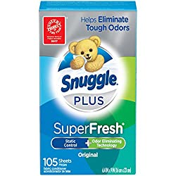 Snuggle Plus Super Fresh Fabric Softener Dryer Sheets with Static Control and Odor Eliminating Techn