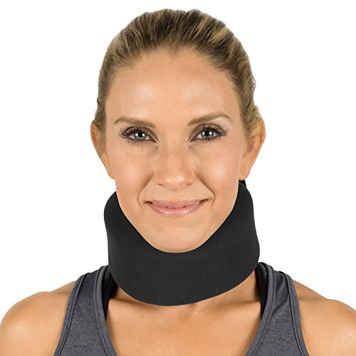 Vive Neck Brace - Foam Cervical Collar - Vertebrae Whiplash Wrap Aligns and Stabilizes Spine - Adjustable Spinal Support Can Be Used While Sleeping and Relieves Pain, Pressure (Thin, Black)