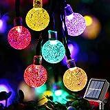 Guirnaldas Luces Exterior Solare, BrizLabs 60 LED Luces Navidad 13.8M Cadena de Luces Bolas 8 Modos Impermeable Decoración Luce Solar Interior para Jardín, Hogar, Arboles, Boda, Fiesta, Patio, Colores