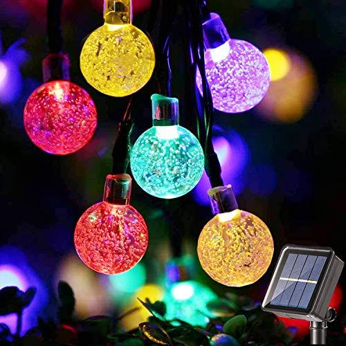LED Solar Lichterkette Außen, BrizLabs 13.8M 60 LED Kristall Kugeln Solarlichterkette Aussen 8 Modi Wasserdicht Innen Beleuchtung für Garten Bäume Terrasse Hof Weihnachten Hochzeiten Party, Bunt