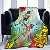 Cute Birds Hummingbirds On Hibiscus and Yellow Lilies Fleece Throw Blanket Plush Soft Throw for Bed Sofa, 80'X60'