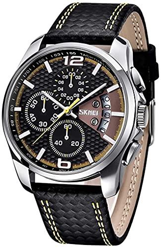 FDR Heren horloges zwart leer chronograaf mode analoog kwarts groot gezicht multifunctionele luxe waterdicht oplichtend polshorloge (kleur: geel)