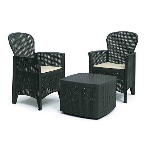 DMORA 8052773491754 Set da Giardino con Cuscini, 2 Poltrone e 1 Tavolino Contenitore da Esterno, Made in Italy, Antracite