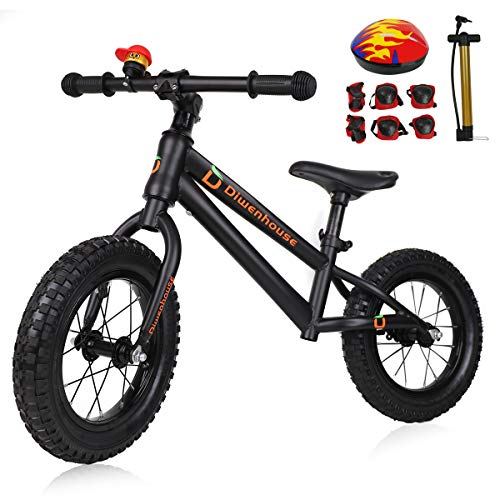 Diwenhouse Kids Balance Bike - Toddler Training Balance Bike No Pedal for Boys and Girls Ages 2 to 6 Years Include 12 inch Inflatable Wheels, Bicycle Pump, Helmet, Bell and Protective Kits (Black)