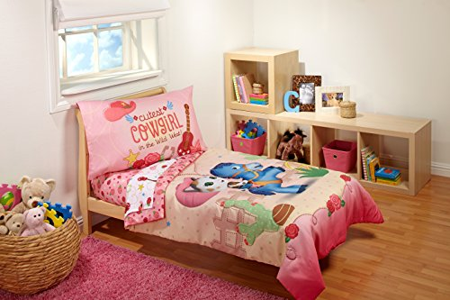 Disney 4 Piece Sheriff Callie 'Cutest Cowgirl' Toddler Bed Set, Pink