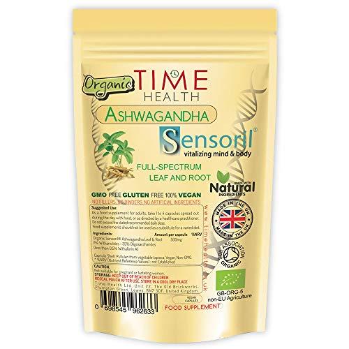 Bio Ashwagandha Kapseln - Bio-Sensoril® mit 11% Withanoliden – Veredelte Schlafbeere, vollständig mit Wurzeln und Blättern – Ohne Zusätze (60 Kapseln)
