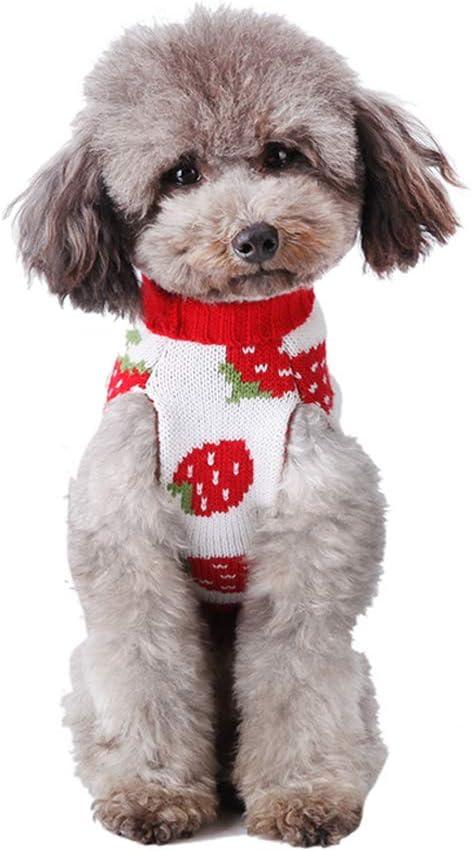 Cuteboom Dog Sweater Strawberry Apparel Jumper Hall Warm Pet Cat Year-end gift Brand new