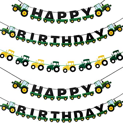 3 Pieces Green Tractor Banner Green Farm Party Happy Birthday Banner for Tractor Farm Themed Birthday Baby Shower Party Supply Decorations