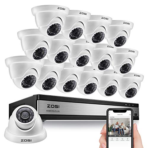 ZOSI 16CH 1080P Lite Security Camera Recorder Office System 1MP DVR with 16pcs 1MP HD Indoor Outdoor Weatherproof CCTV Cameras 100ft Night Vision,Quick Remote Access,Instant Motion Alert,No Hard Drive