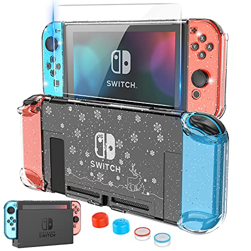 HEYSTOP Carcasa para Nintendo Switch, Funda Nintendo Switch con Protector de Pantalla para Nintendo Switch Console y Grips con 4 Agarres para el Pulgar, Edition Crystal Glitter
