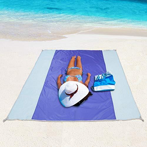 Sábana de picnic a prueba de arena Cojín de playa Impermeable 200 x 200 cm, Toalla de playa plegable Ligero para acampar Lona de lluvia Portador de lona, Cojín de viaje pequeño para 2 personas, Azul