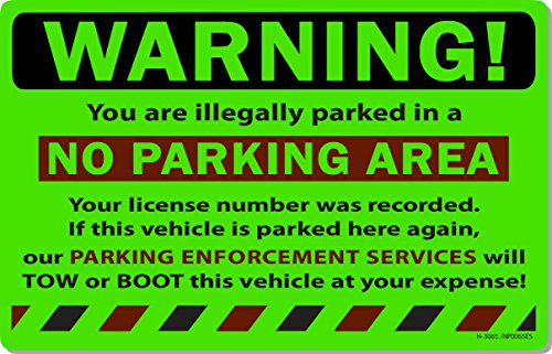 """50 Green Fluorescent Warning NO Parking Area! Violation No Parking Towing Car Auto Sign Stickers 8"""" X 5"""""""