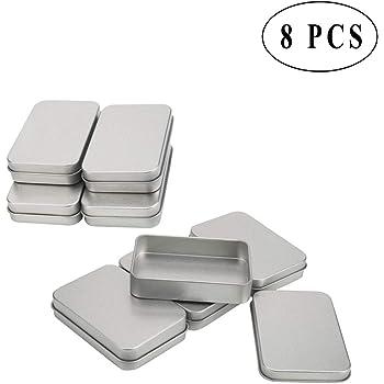 Shappy Latas de Bisagra Rectangular Contenedor de Almacenaje Caja Portátil de Metal Plateado Mini Estuche, Organizador de Hogar, 3,75 x 2,45 x 0,8 Pulgadas, 6 Piezas: Amazon.es: Hogar