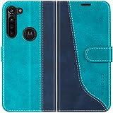Mulbess Handyhülle für Motorola Moto G8 Power Hülle Leder, Motorola Moto G8 Power Handy Hüllen, Modisch Flip Handytasche Schutzhülle für Motorola Moto G8 Power, Mint Blau