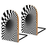 Wood Bookends Black and White Optical Illusion Printing Coating,Decorative Bookend,5''X3'',1Pair in Pack