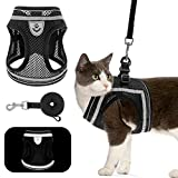 Cat Harness and Lead Set - Escape Proof Cat Vest Harness with Breathable Mesh, Easy to Adjust, Black, Medium Pet Chest Strap