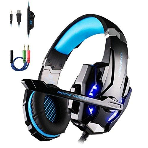 OCDAY G9000 Auriculares Cascos Gaming de Estéreo con Micrófono y Puerto Jack de 3.5mm para PS4, PC y Móviles (Negro+Azul)