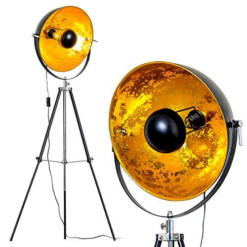 Lampadaire tripode Saturn XL noir avec réflecteur doré - Lampadaire projecteur de cinéma avec globe pivotant et hauteur ajustable - Luminaire design vintage adapté aux ampoules LED