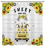 HVEST Farmhouse Truck Zwerg Duschvorhang Frühling Sonnenblume Blumen Pflanzen Süßer Zwerg Bienen Rustikal Holzbrett Duschvorhänge Set für Badezimmer 175 x 177 cm wasserdichter Stoff mit Haken