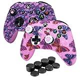 Funda protectora de goma de silicona HLRAO presión X2, funda de silicona antideslizante rosa para controlador Xbox One S / X Funda de silicona + accesorio x agarre de 12 pulgadas.