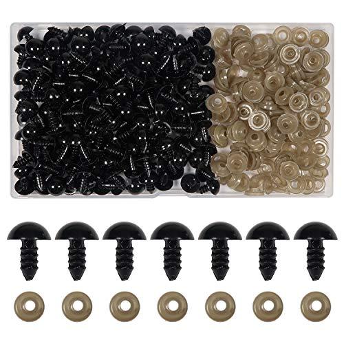 TOAOB 150 Piezas 12 mm de Ojos de Plástico Seguridad de Negro Plástic con Arandelas Ojos de Muñecas para Hacer Muñecas Manualidades de Crochet Tejer Animales