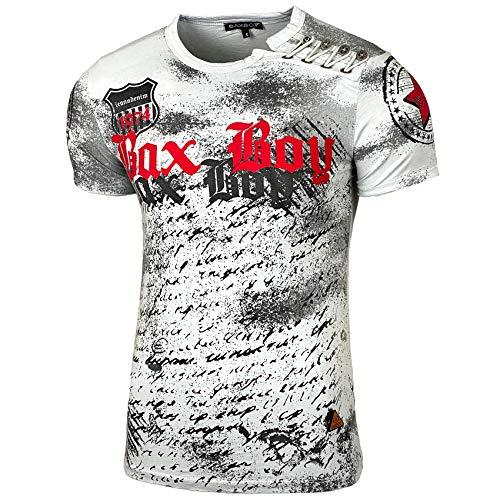 Herren Rundhals Vintage T-Shirt Kurzarm Slim Fit Design Fashion Top Print Shirt 102, Farbe:Grau, Größe:M