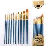 MUPACK 10 Pièces Pinceaux Peinture Acrylique - Pinceau de Peinture à l'huile pour Aquarelle, Peinture Gouache, Nylon Pinceaux Artiste Plume Lisse, Enfant Brosse de Peinture,Pinceau Aquarelle